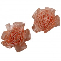 Satin Ribbon Rosettes Flowers Roses 3cm Wide Peach Pack of 2