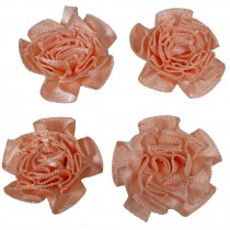 Satin Ribbon Rosettes Flowers Roses 3cm Wide Peach Pack of 4