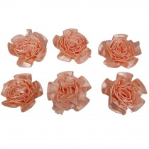 Satin Ribbon Rosettes Flowers Roses 3cm Wide Peach Pack of 6