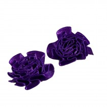 Satin Ribbon Rosettes Flowers Roses 3cm Wide Purple Pack of 2