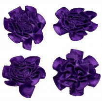 Satin Ribbon Rosettes Flowers Roses 3cm Wide Purple Pack of 4
