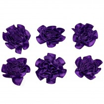 Satin Ribbon Rosettes Flowers Roses 3cm Wide Purple Pack of 6