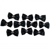 Satin Bow Tie Ribbon Bows with Pearl Effect Detail 3.5cm Wide Black Pack of 10