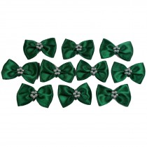 Satin Bow Tie Ribbon Bows with Pearl Effect Detail 3.5cm Wide Dark Green Pack of 10
