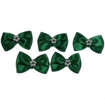 Satin Bow Tie Ribbon Bows with Pearl Effect Detail 3.5cm Wide Dark Green Pack of 5