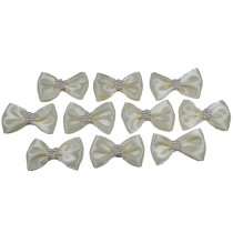 Satin Bow Tie Ribbon Bows with Pearl Effect Detail 3.5cm Wide Ivory Pack of 10