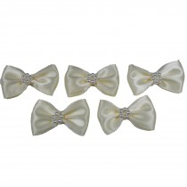 Satin Bow Tie Ribbon Bows with Pearl Effect Detail 3.5cm Wide Ivory Pack of 5