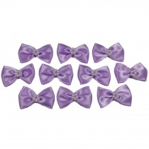 Satin Bow Tie Ribbon Bows with Pearl Effect Detail 3.5cm Wide Lilac Pack of 10