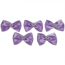 Satin Bow Tie Ribbon Bows with Pearl Effect Detail 3.5cm Wide Lilac Pack of 5