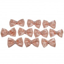 Satin Bow Tie Ribbon Bows with Pearl Effect Detail 3.5cm Wide Peach Pack of 10