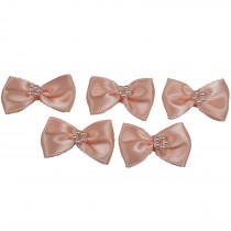 Satin Bow Tie Ribbon Bows with Pearl Effect Detail 3.5cm Wide Peach Pack of 5