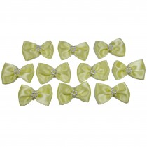 Satin Bow Tie Ribbon Bows with Pearl Effect Detail 3.5cm Wide Yellow Pack of 10