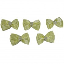 Satin Bow Tie Ribbon Bows with Pearl Effect Detail 3.5cm Wide Yellow Pack of 5