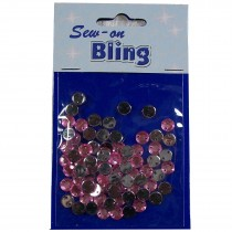 Sew on Bling - Round Pale Pink 6mm