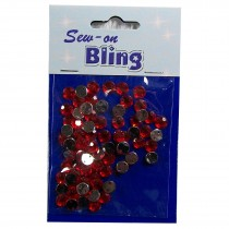 Sew on Bling - Round Red 6mm