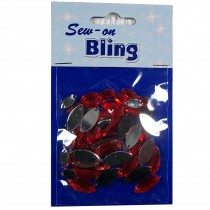 Sew on Bling - Ellipse Red 5mm & 7mm