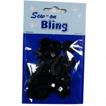 Sew on Bling - Round Black 12mm & 14mm