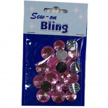 Sew on Bling - Round Pale Pink 12mm & 14mm