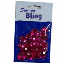 Sew on Bling - Round Pink 12mm & 14mm