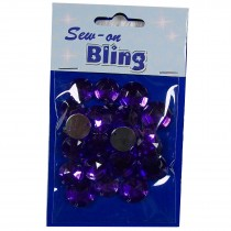 Sew on Bling - Round Purple 12mm & 14mm