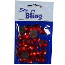 Sew on Bling - Round Red 12mm & 14mm
