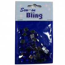 Sew on Bling - Square Blue 6mm & 8mm