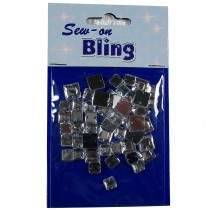 Sew on Bling - Square Clear 6mm & 8mm