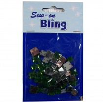 Sew on Bling - Square Green 6mm & 8mm
