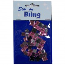 Sew on Bling - Square Pale Pink 6mm & 8mm