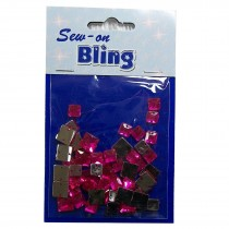 Sew on Bling - Square Fuchsia Pink 6mm & 8mm