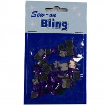 Sew on Bling - Square Purple 6mm & 8mm