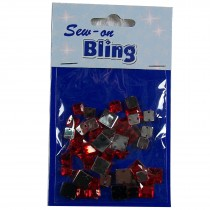 Sew on Bling - Square Red 6mm & 8mm