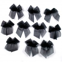 Sheer Ribbon Bows 3cm Black Pack of 10
