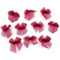 Sheer Ribbon Bows 3cm Burgundy Pack of 10