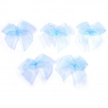 Sheer Ribbon Bows 3cm Pale Blue Pack of 5