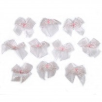 Sheer Ribbon Bows 3cm Pale Pink Pack of 10