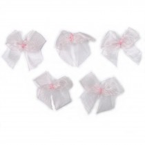 Sheer Ribbon Bows 3cm Pale Pink Pack of 5