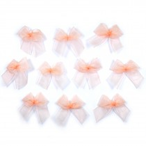 Sheer Ribbon Bows 3cm Peach Pack of 10