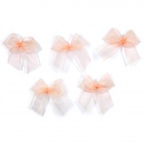 Sheer Ribbon Bows 3cm Peach Pack of 5