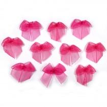 Sheer Ribbon Bows 3cm Pink Pack of 10