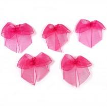 Sheer Ribbon Bows 3cm Pink Pack of 5