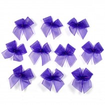 Sheer Ribbon Bows 3cm Purple Pack of 10