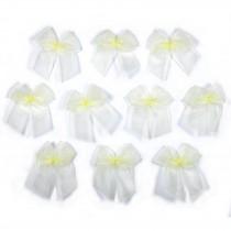 Sheer Ribbon Bows 3cm Yellow Pack of 10