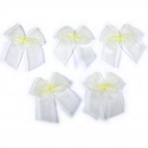 Sheer Ribbon Bows 3cm Yellow Pack of 5