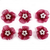 Sheer Ribbon Flowers with Diamante Circle Detail 3cm wide Burgundy Pack of 6