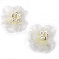 Sheer Ribbon Flowers with Diamante Circle Detail 3cm wide Ivory Pack of 2
