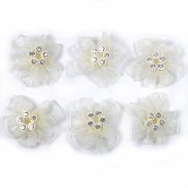 Sheer Ribbon Flowers with Diamante Circle Detail 3cm wide Ivory Pack of 6