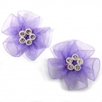 Sheer Ribbon Flowers with Diamante Circle Detail 3cm wide Lilac Pack of 2