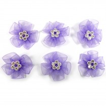 Sheer Ribbon Flowers with Diamante Circle Detail 3cm wide Lilac Pack of 6