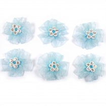 Sheer Ribbon Flowers with Diamante Circle Detail 3cm wide Pale Blue Pack of 6